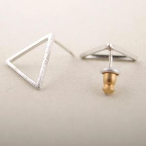 Jewelry - 💕 2/$12 Delicate Dainty Silver Triangle Earrings